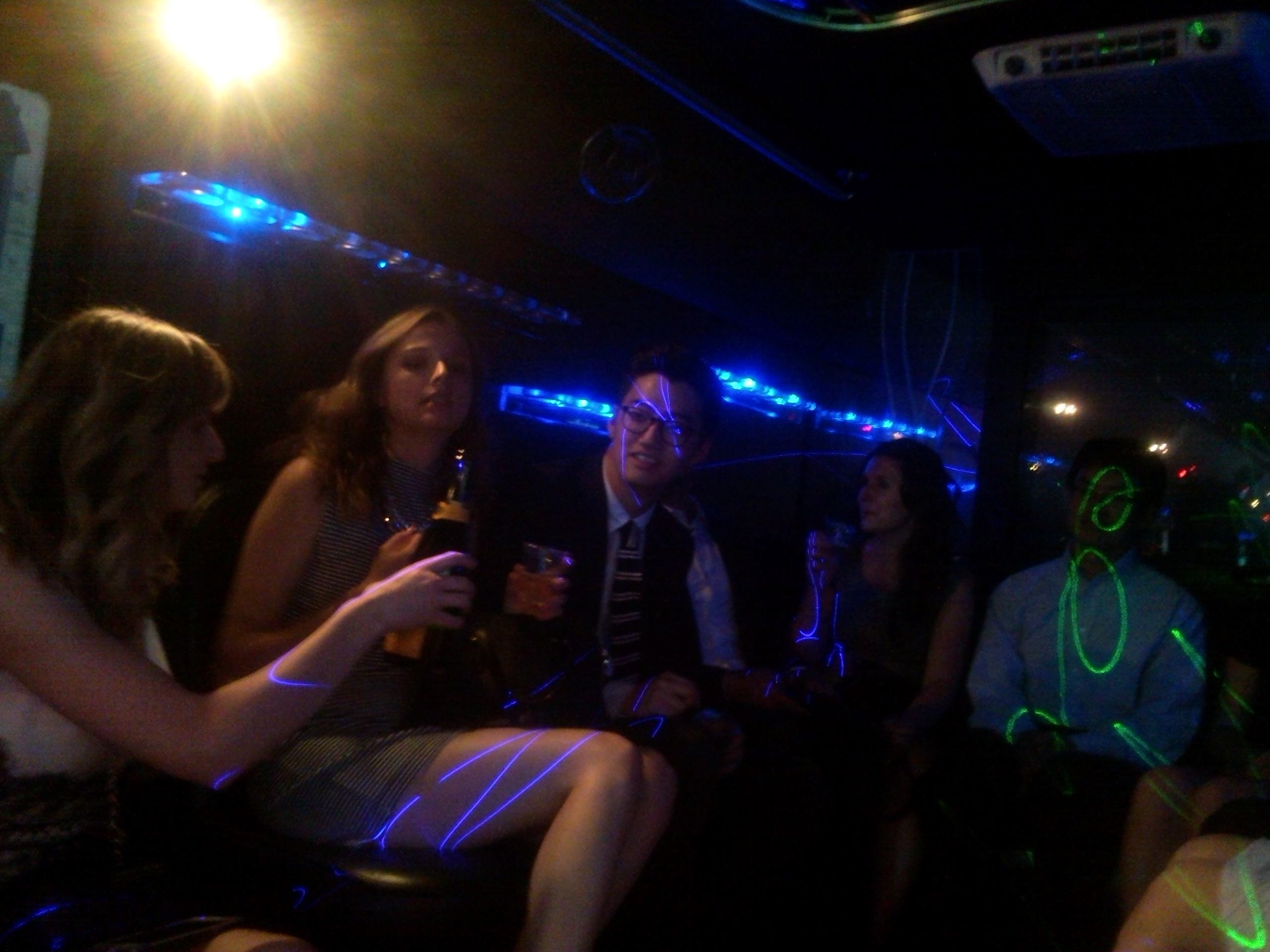 On the party bus - Jeff covered in frickin' lasers